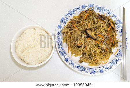 Japchae With Rice Bowl