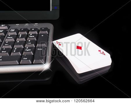 Cards Beside The Keyboard. Online Card Games Concept