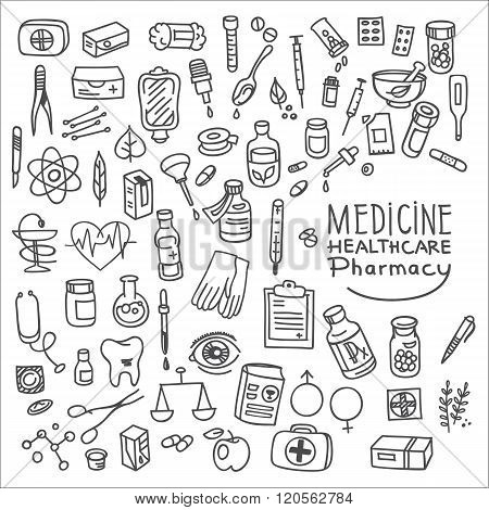 Health Care And Medicine Doodle Icon Set