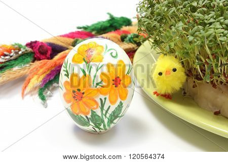 Easter Chicken, Painted Egg And Palm With Green Watercress