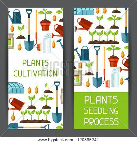 Banners with agriculture objects. Instruments for cultivation, plants seedling process, stage plant