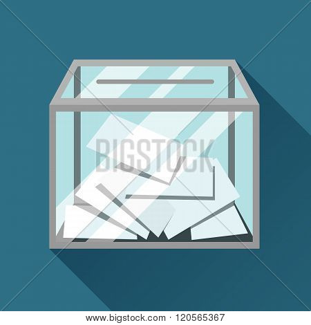 Voting papers in ballot box. Political elections illustration for banners, web sites, banners and fl