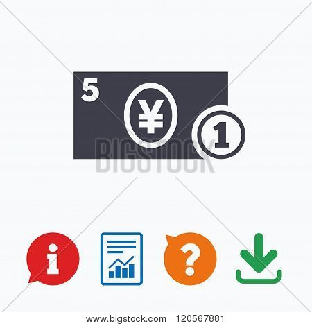 Cash sign icon. Yen Money symbol. Coin.