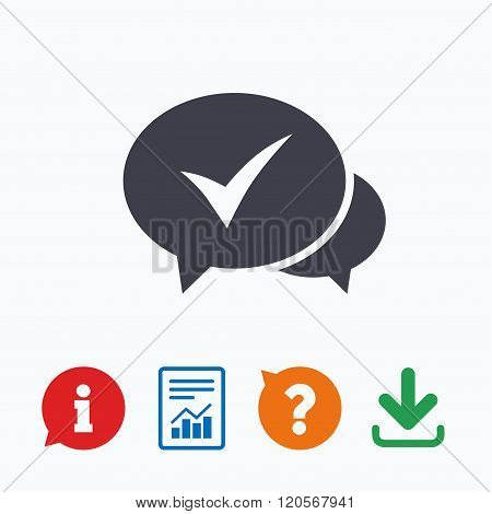 Chat check sign icon. Yes or Tick symbol.
