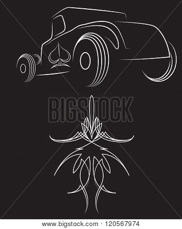 Hot rod. Retro car. pinstripes. Beautiful pinstripe vector illustration