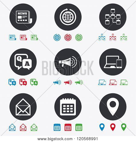 Communication icons. News, chat messages signs.