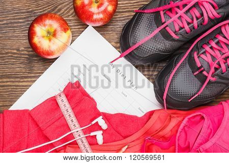Diet Plan And Sport Items, Wooden Background