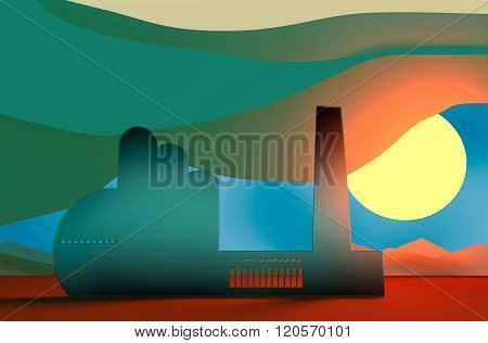Factory silhouette in desert landscape concept
