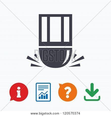 Eraser icon. Erase pencil line symbol