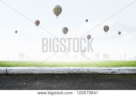 Aerostats flying over city