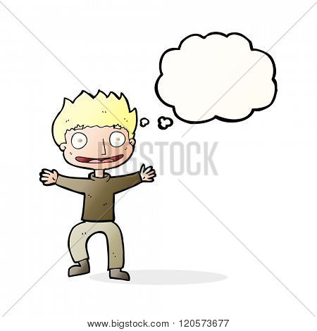 cartoon grinning boy with thought bubble