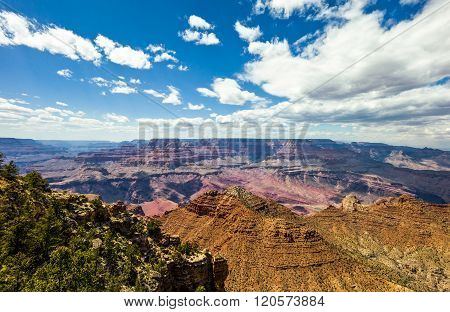 U.S.A., Arizona, view of the Grand Canyon South Rim with clouds in the sky. ** Note: Visible grain at 100%, best at smaller sizes