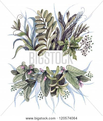 Watercolor Tufts With Branches And Blades Of Grass