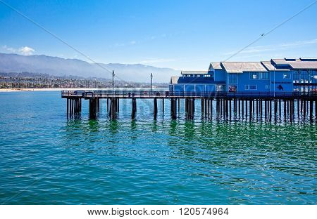 Santa Barbara, U.S.A. - June 1, 2011: The Stearns Wharf on the sea front.