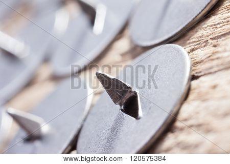 abstract image, set of metal sharp pushpin, selective focus