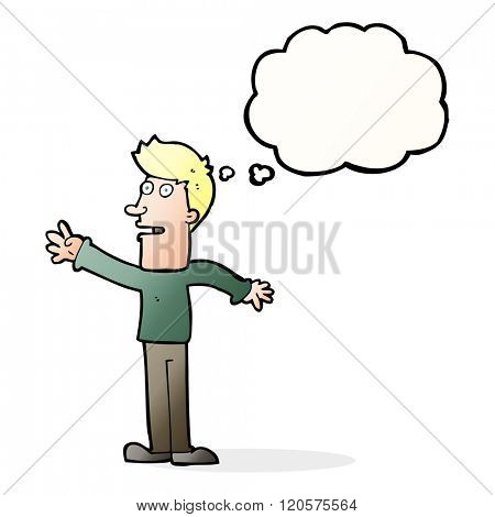 cartoon man reaching with thought bubble
