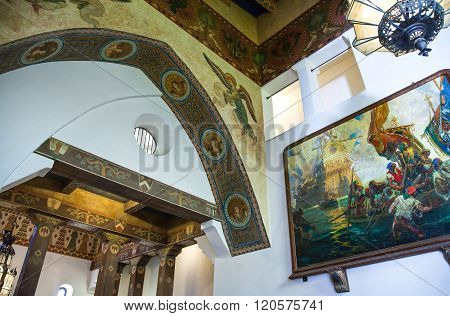 Santa Barbara, U.S.A. - June 1, 2011: Upward view of the paintings and decorations in the Court House inside.