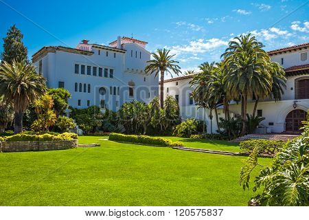 Santa Barbara, U.S.A. - June 1, 2011: The Court House seen from the garden.