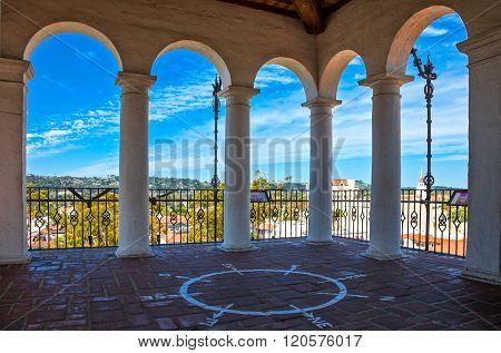 Santa Barbara, U.S.A. - June 1, 2011: Panorama of the city seen from  the Court House lookout tower.