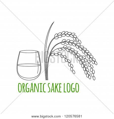 Modern Line Style Logo, Branding,  Logotype,  Badge  With Rice Plant And A Glass Of Sake.  Sake Symb