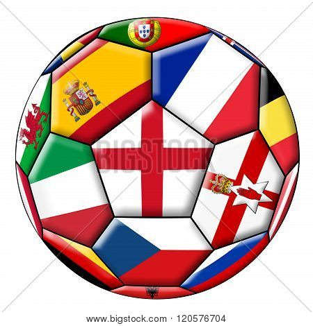Soccer Ball With Various Flags
