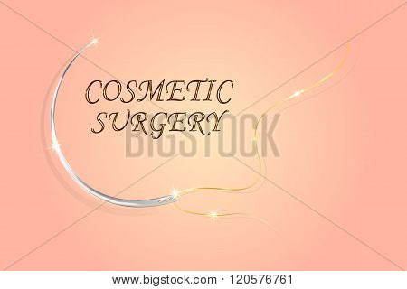 illustration of needles and surgical thread for plastic surgery