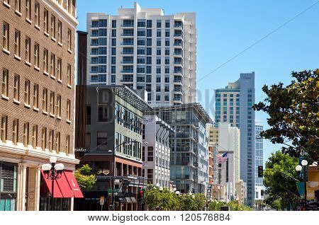 San Diego, U.S.A. - June 2, 2011: The traditional stores and  buildings of the Gas Lamp quarter.