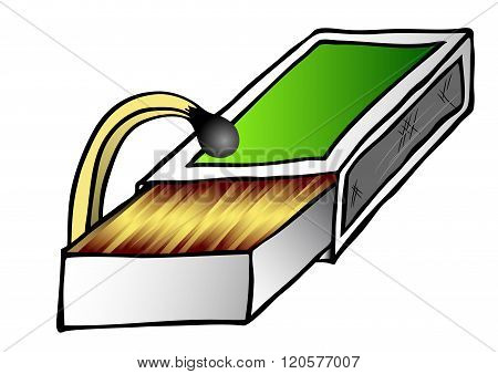 Abstract image of the safety match and full matchbox - looking for
