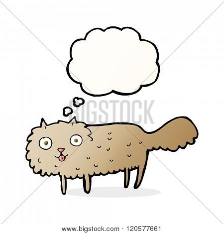 cartoon furry cat with thought bubble