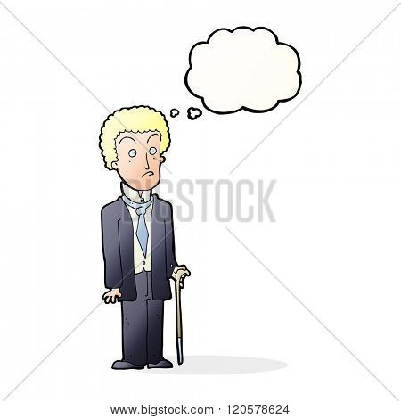 cartoon unhappy gentleman with thought bubble