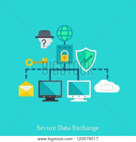 Secure Local Web And Data Exchang Flat Illustration Concept.