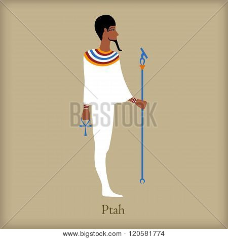 Ptah, God of creation icon, flat style