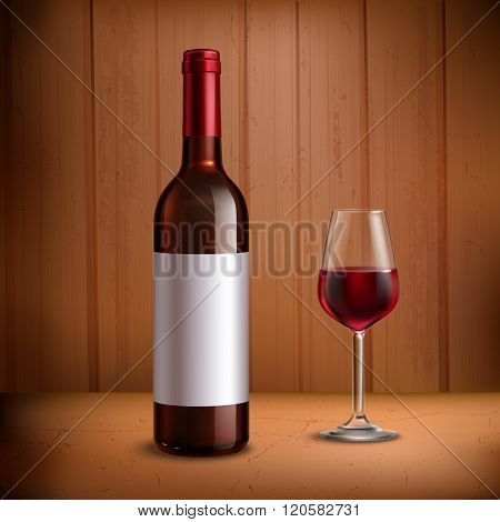 Wine Bottle Template With Glass Of Red Wine