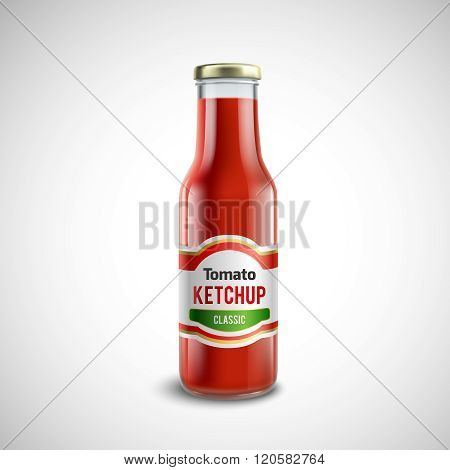 Ketchup Glass Bottle In Realistic Style