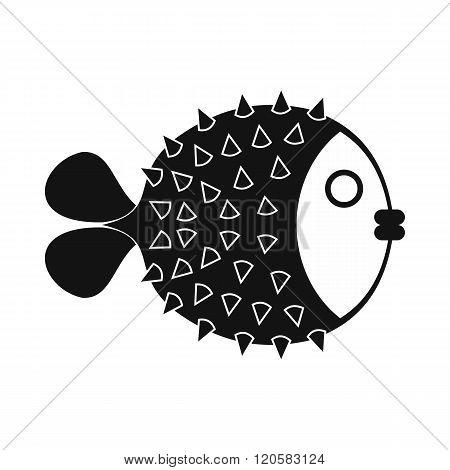 Fugu sharp fish icon, simple style
