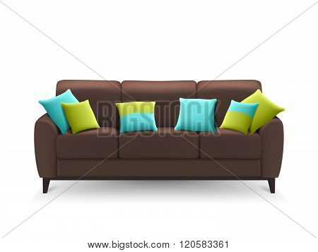 Brown Realistic Sofa With Decorative Cushions