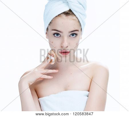 Ugly problem skin girl. Woman skin care concept .
