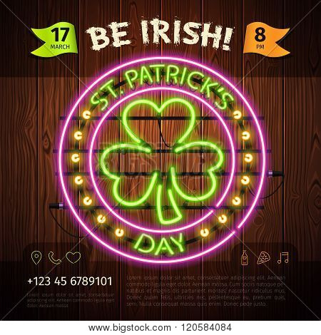 St Patricks Day Round Neon Sign on Wooden Background. Used pattern brushes included.