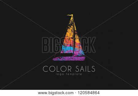 Sails logo. Color sails. Boat logo. Sailing logo design. Logo in grunge style. Creative logo