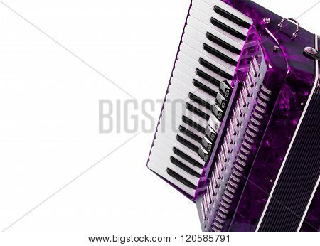 part red musical instrument accordion, white background