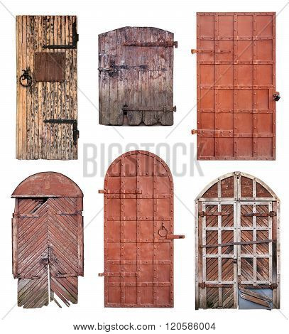 Set Of Closed Old Doors Isolated On White