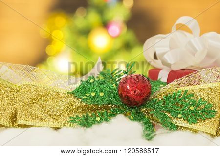 Gift box with bokeh background and amazing lighting. Soft focus. Concept Christmas and New Year. ** Note: Soft Focus at 100%, best at smaller sizes