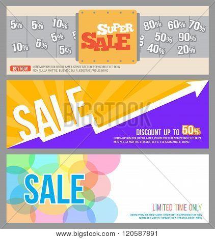 circle sale, super sale machine and raise graph sale banner for commercial