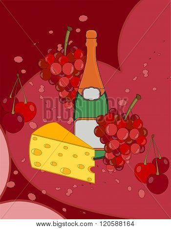 Romantic Collage With Shamanic, Cheese, Grapes And Cherries. Beautiful Collage. Poster. Vector Illus