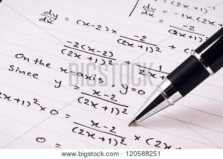 Mathematics, Equations close-up. Homework. Solving Mathematical Problem.