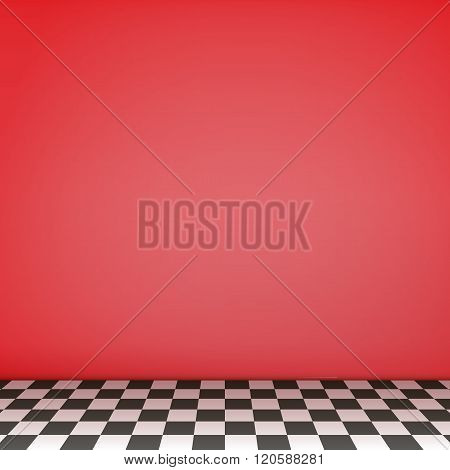 Red Empty Scene  With Checkerboard Floor