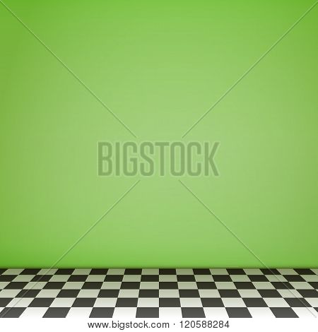Green Empty Scene  With Checkerboard Floor