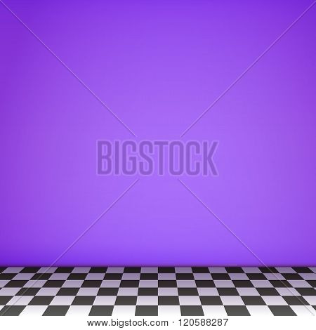 Violet Empty Scene  With Checkerboard Floor