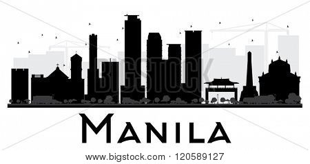 Manila City skyline black and white silhouette. Vector illustration. Simple flat concept for tourism presentation, banner, placard or web site. Business travel concept. Cityscape with landmarks