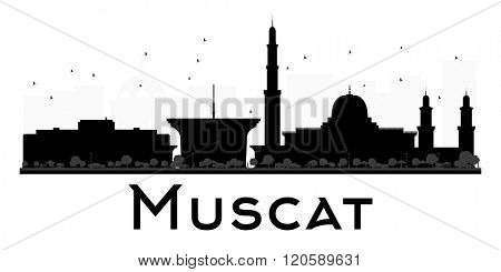 Muscat City skyline black and white silhouette. Vector illustration. Simple flat concept for tourism presentation, banner, placard or web site. Business travel concept. Cityscape with landmarks